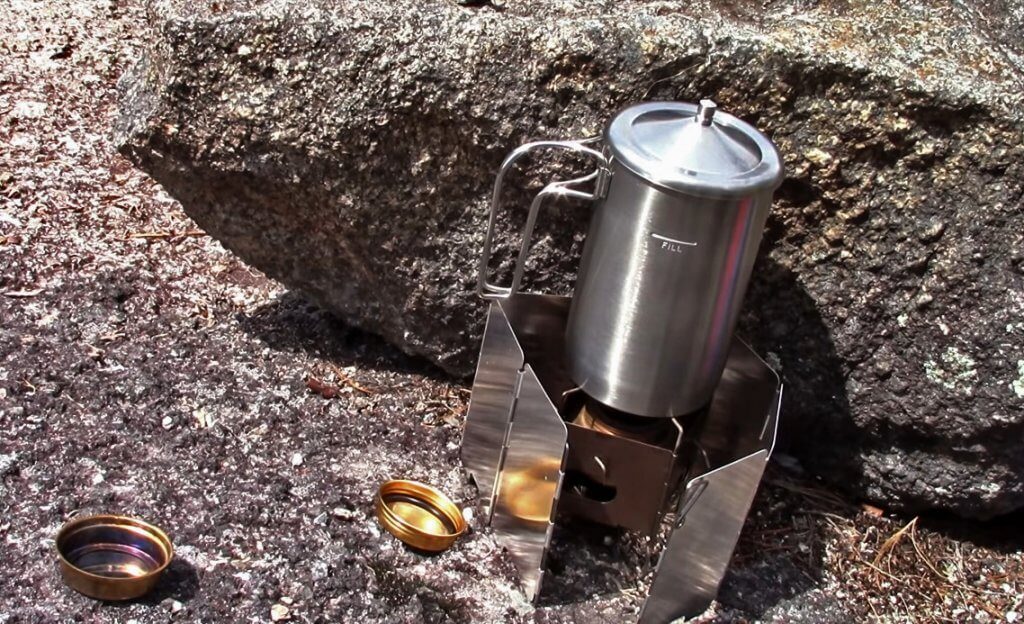 Stanley Cook + Brew Camping Coffee Maker on a stove