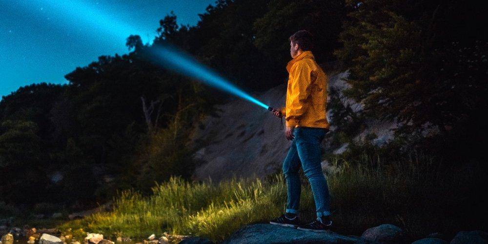 Tactical Flashlight in the Outdoors