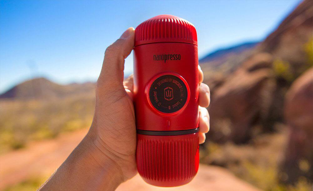 Wacaco Nanopresso Portable Espresso Maker in the outdoors