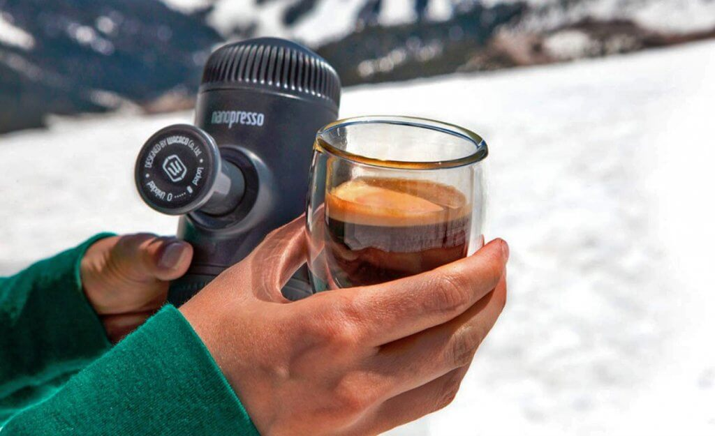 Wacaco Nanopresso Portable Espresso Maker in the snow