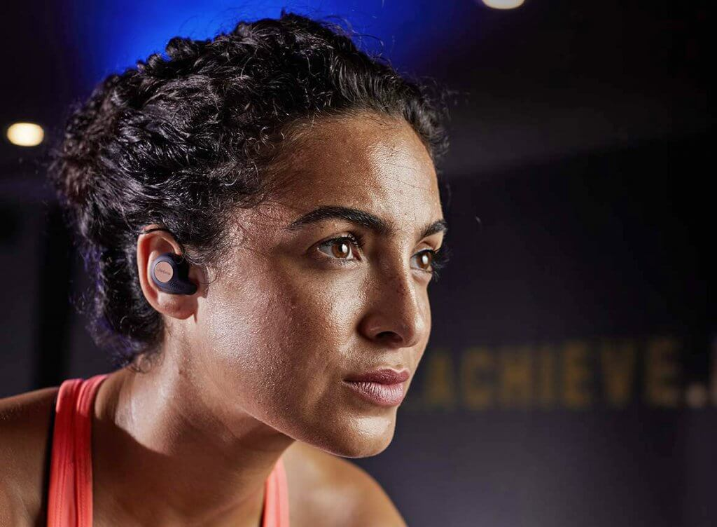 women wearing the Jabra running headphones