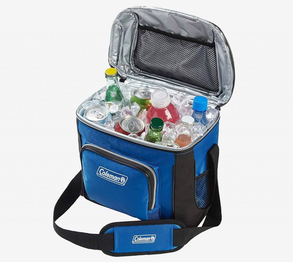 Coleman 16-Can Soft Cooler stocked with drinks
