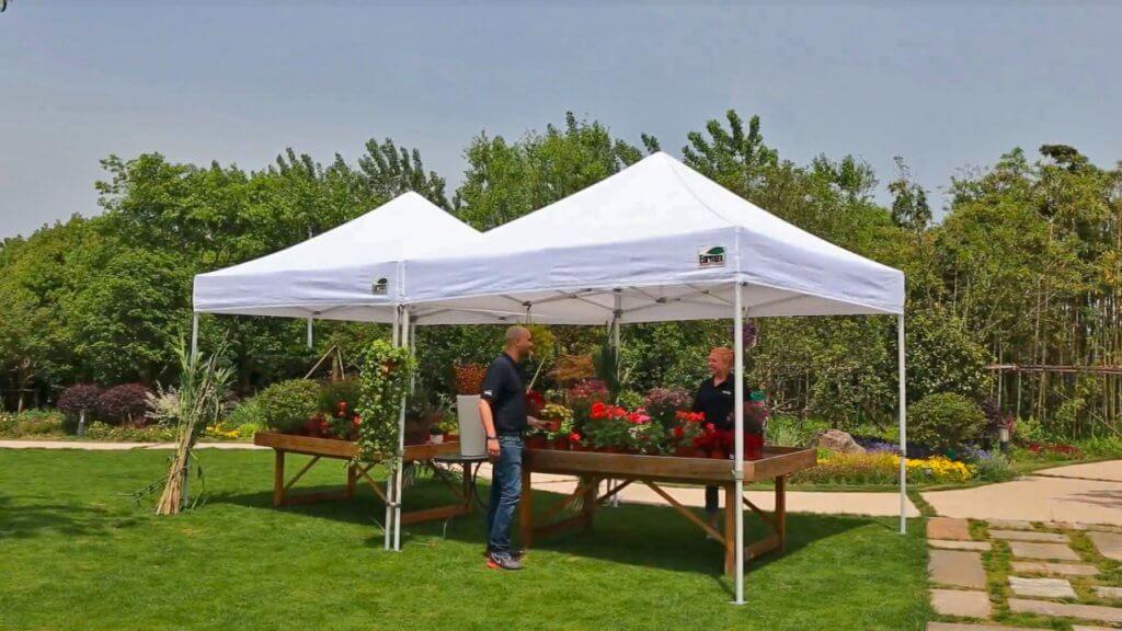Eurmax 10'x10' EZ Pop-up Tent in garden