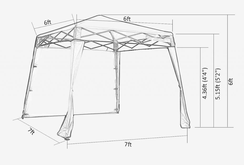 EzyFast Elegant Popup Canopy measurements