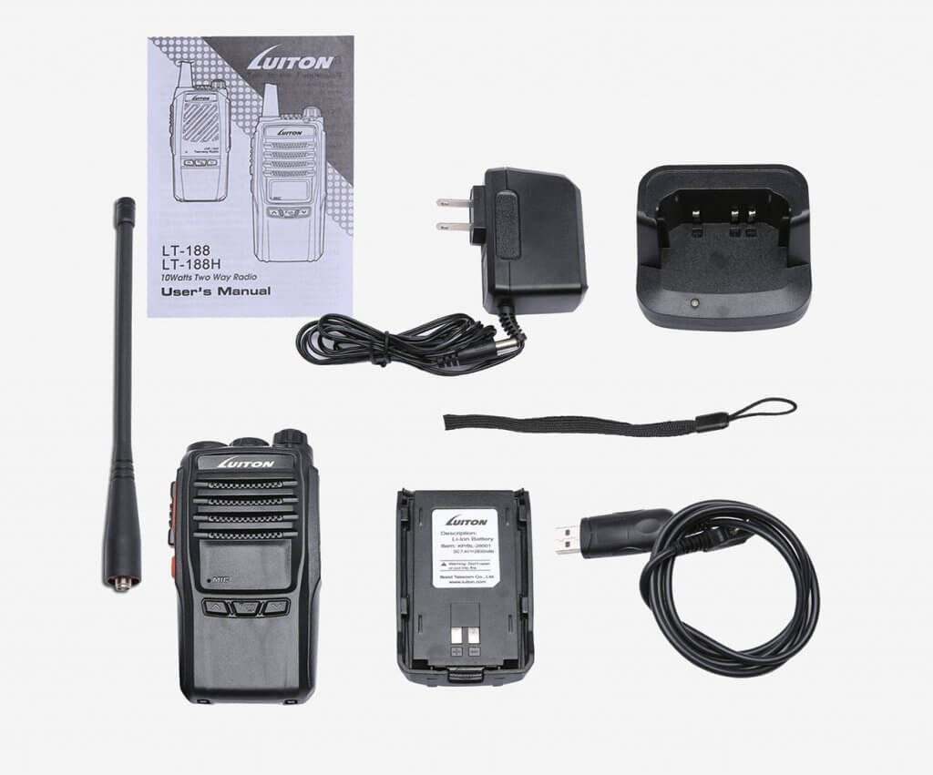 Luiton LT-188H VHF 10W Walkie Talkie and accessories
