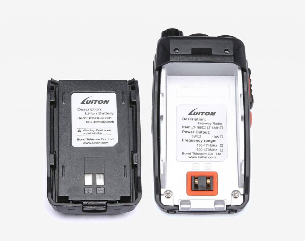 Luiton LT-188H VHF 10W Walkie Talkie battery