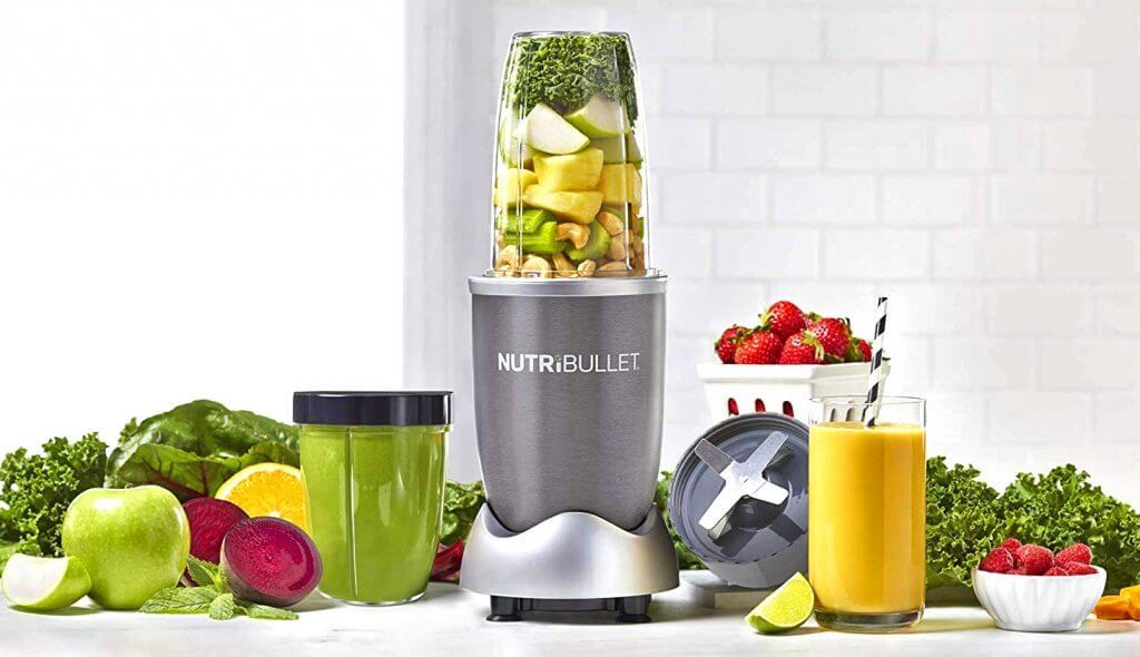 NutriBullet 12-Piece and lots of fruits in the kitchen