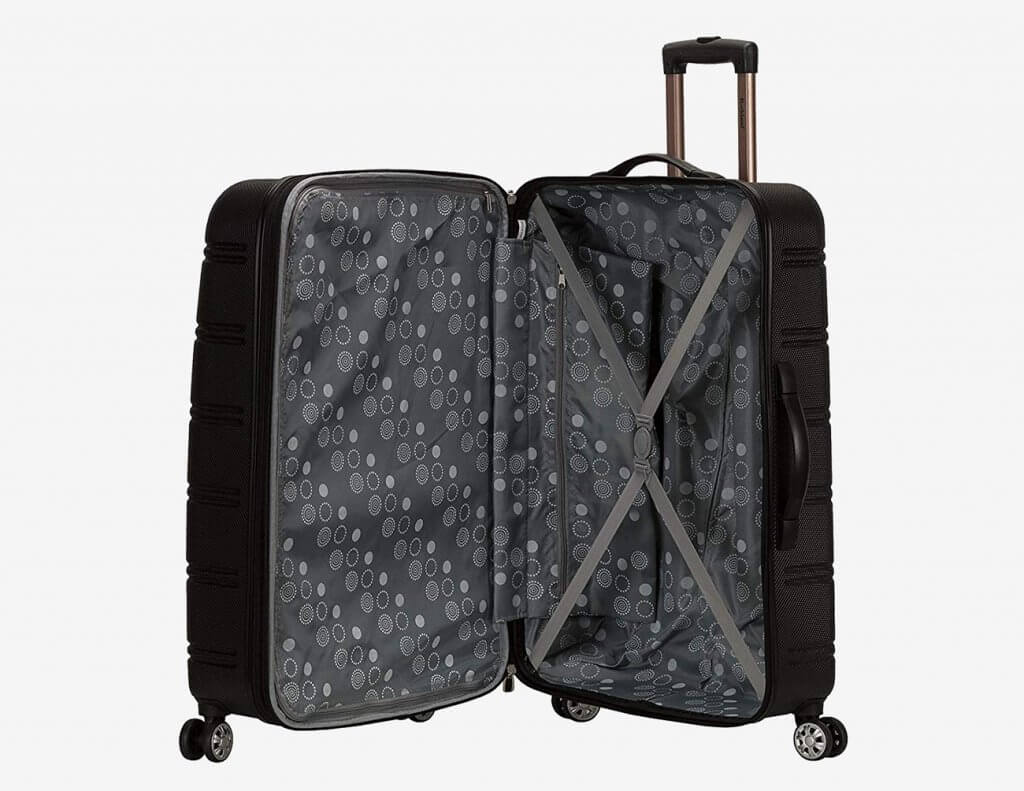 Open piece of the Rockland Two-Piece Luggage Set