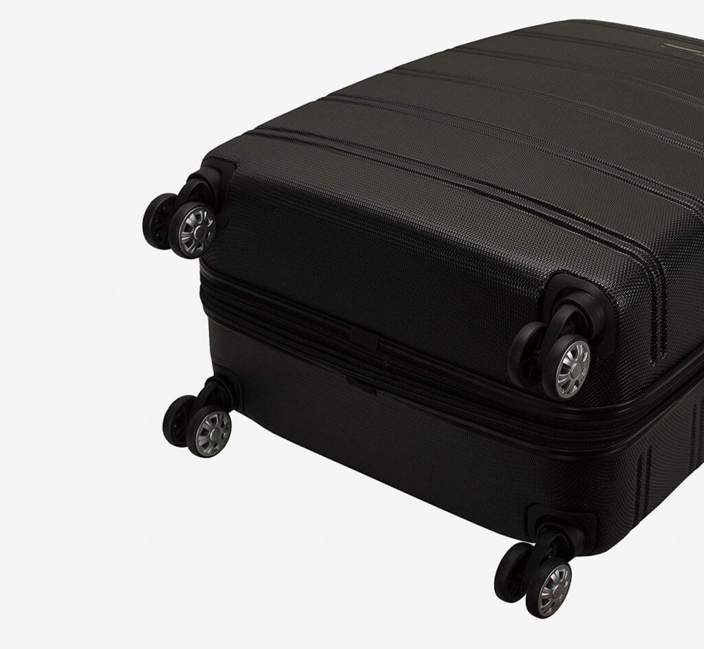 Wheels of the Rockland Two-Piece Luggage Set