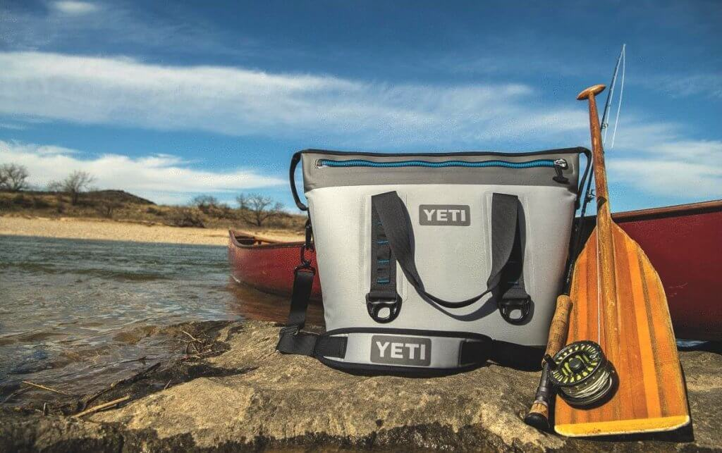 YETI cooler on a fishing trip
