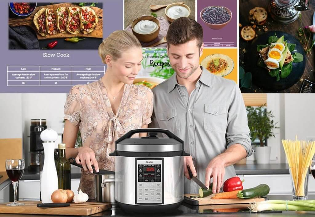 A couple using the COSORI Instant 8-In-1 Slow Cooker in the kitchen