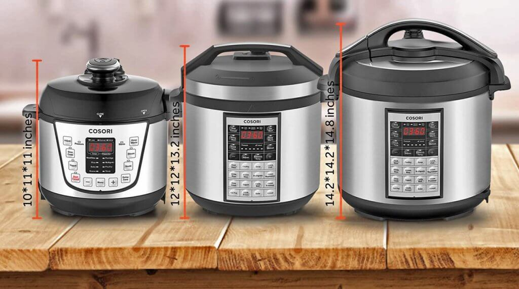 Cosori Electric Pressure Cooker size comparison
