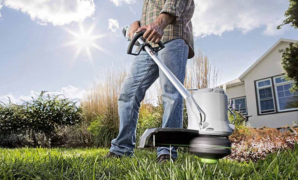 EGO Power+ 15-inch 56V Lithium-Ion Cordless on lawn