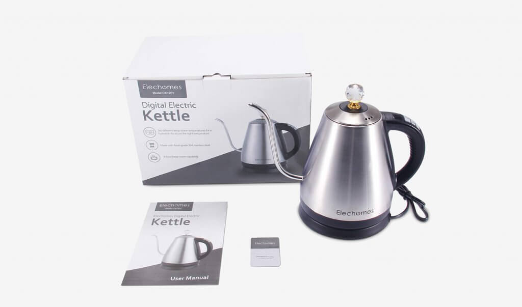 Elechomes Electric Gooseneck Kettle and packaging