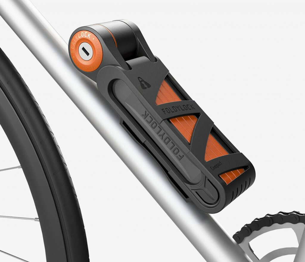 FOLDYLOCK Compact Extreme Bike Lock in storing compartment