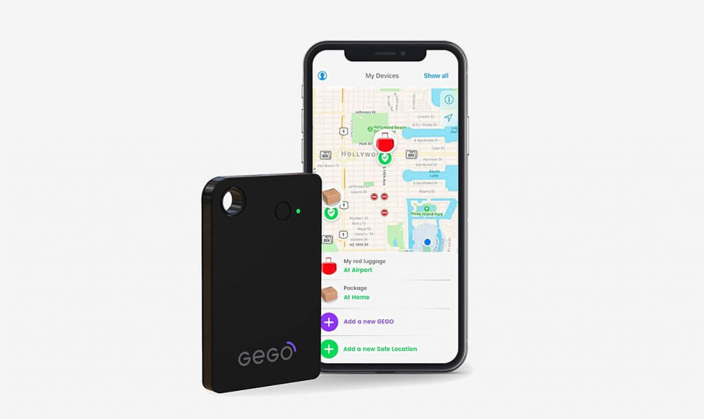 GEGO Luggage Tracker and smartphone