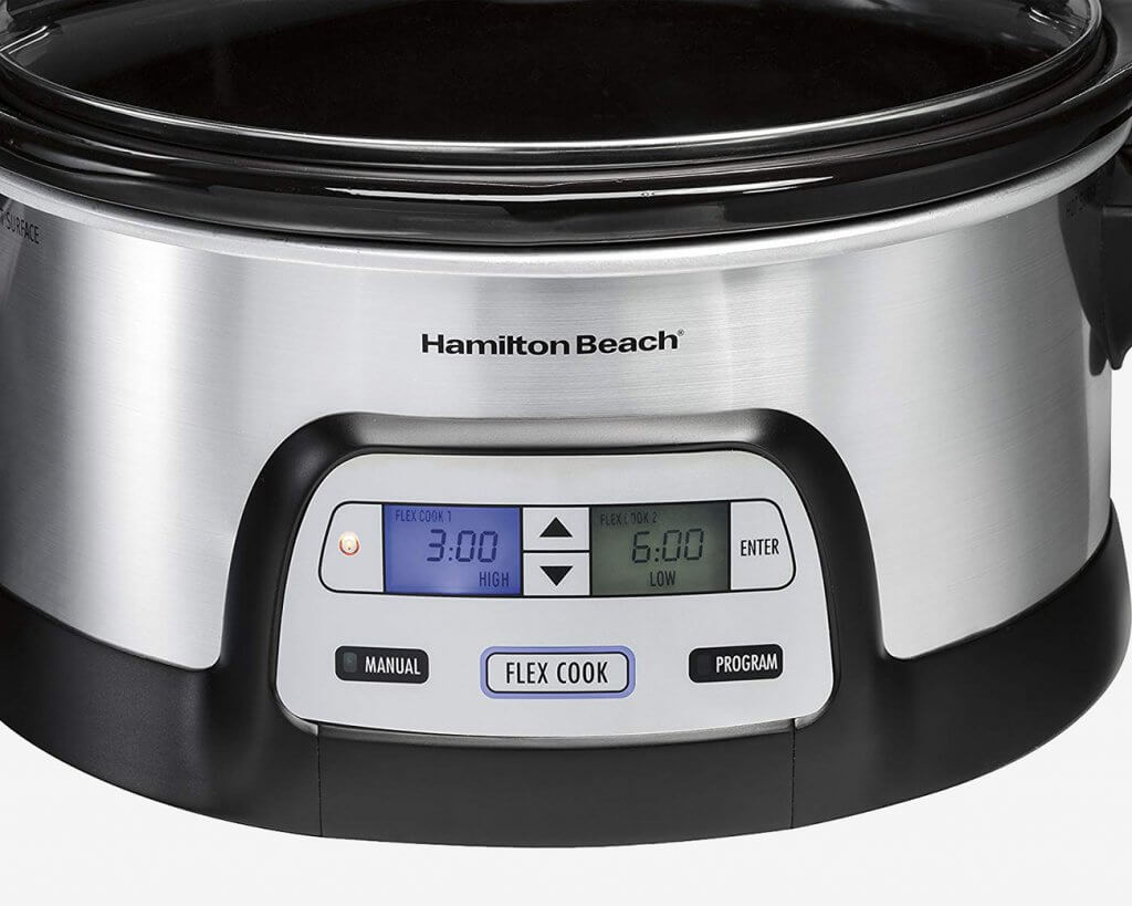 Hamilton Beach 33861 Dual-Timer Slow Cooker close-up of display
