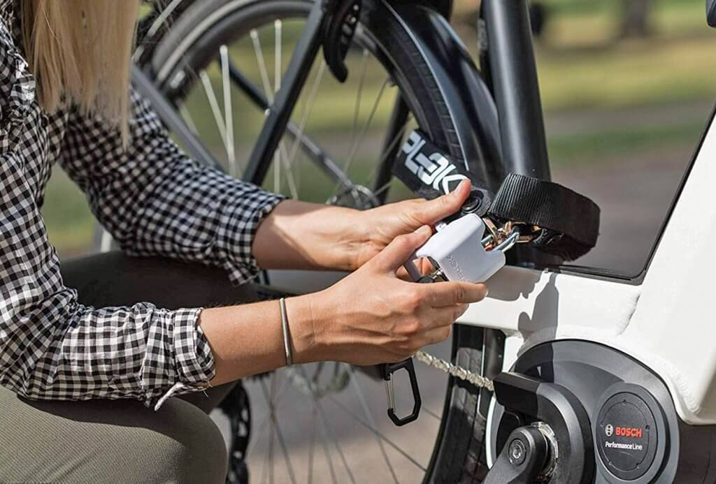 Hiplok Lite v1.0 Wearable Bicycle Lock on a bike