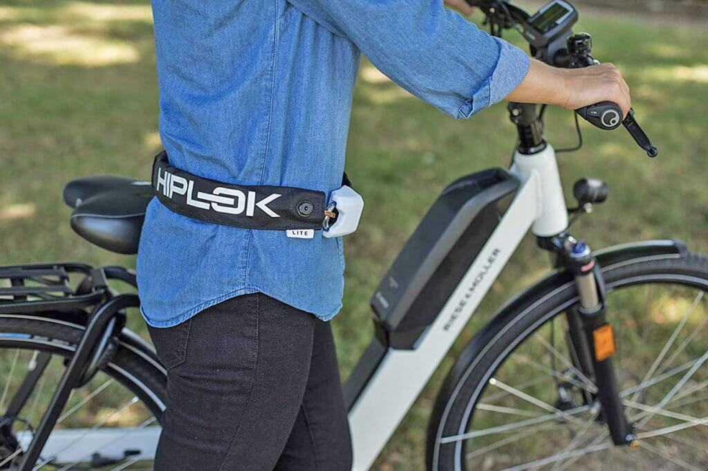 Hiplok Lite v1.0 Wearable Bicycle Lock worn by a cyclist