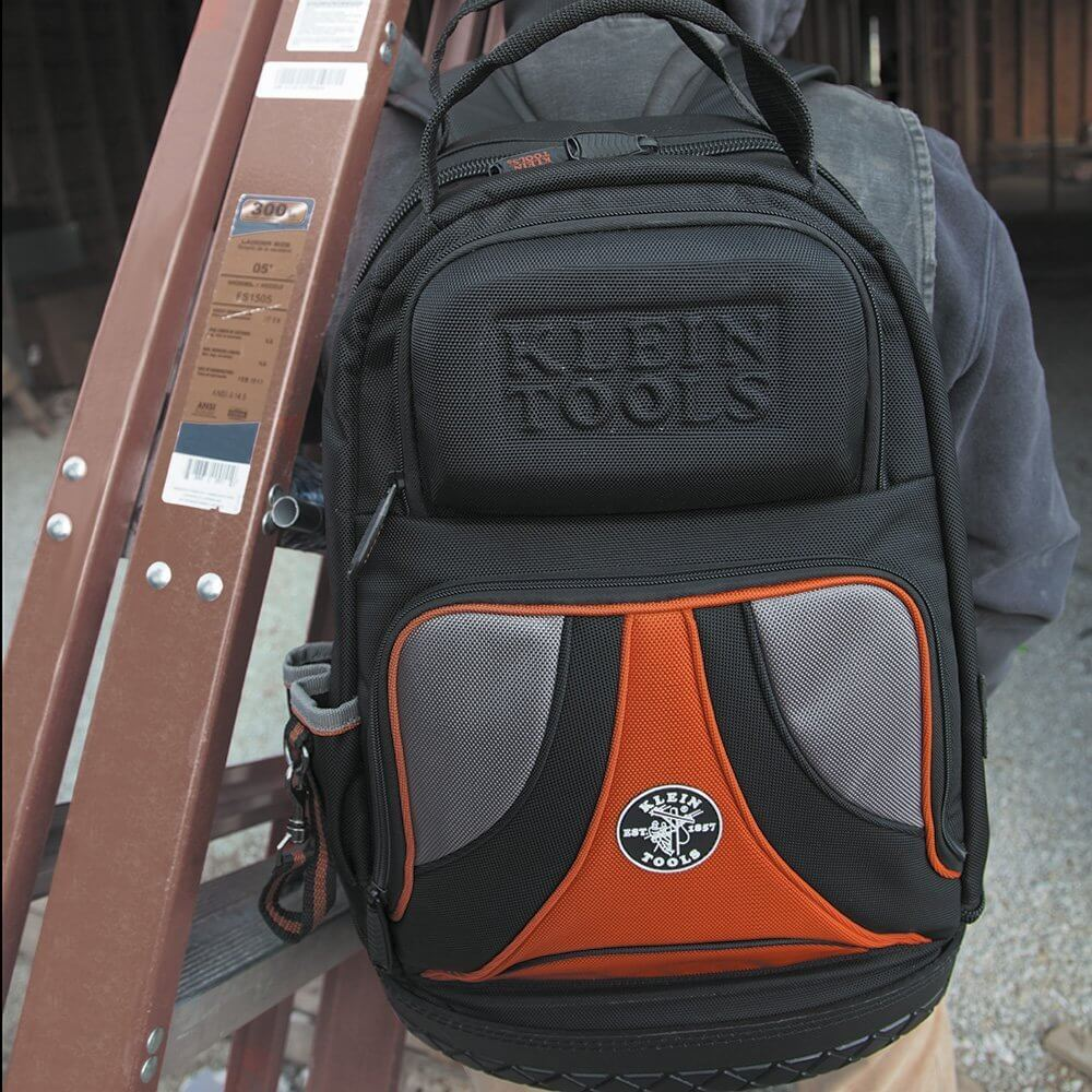 Klein Tools Tradesman Pro Backpack worn by handyman