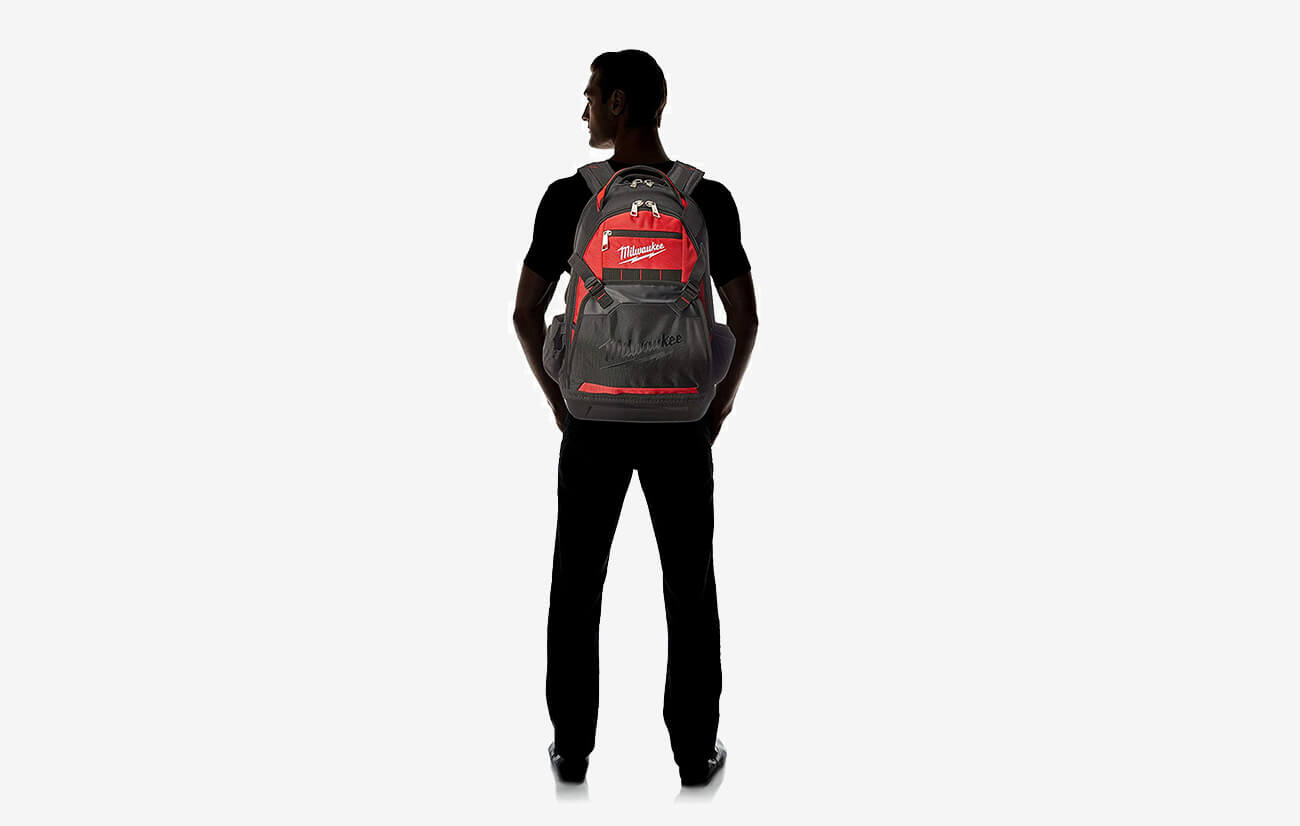 Milwaukee Jobsite Backpack worn by man