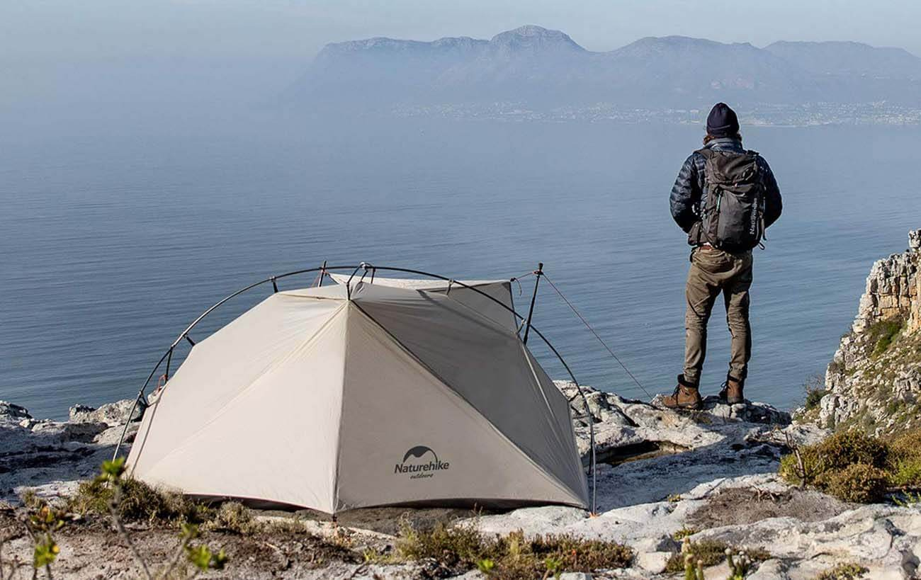 NATUREHIKE 1 Person Ultralight Backpacking Tent on a cliff