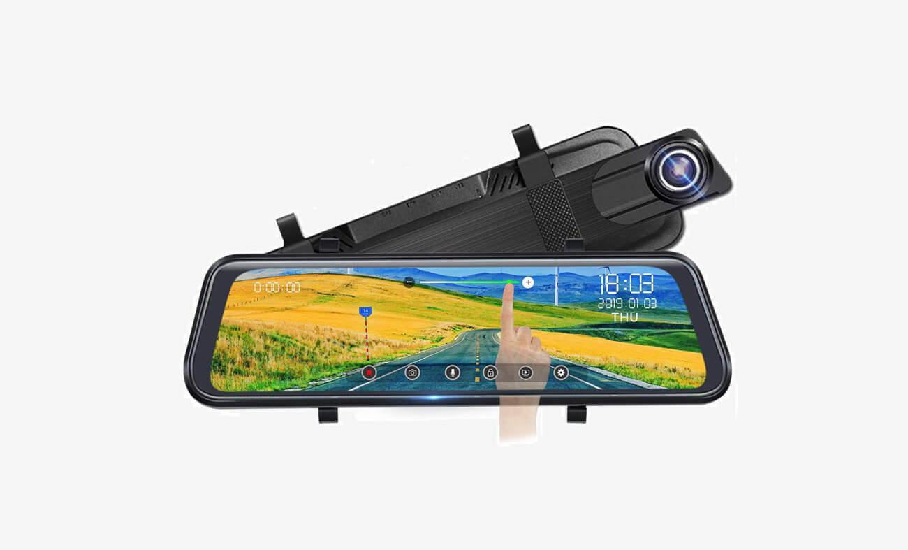 POAEAON Full Touch Screen Mirror Dual Dash Cam