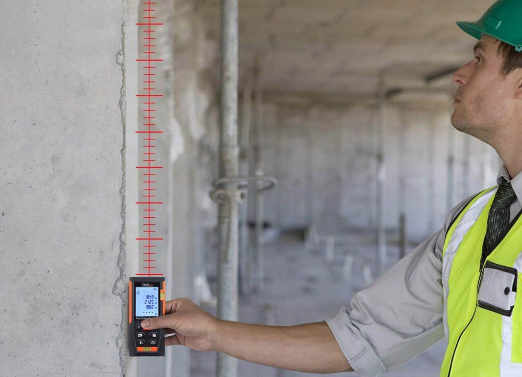 Tacklife HD60 Classic Laser Measure used on construction site