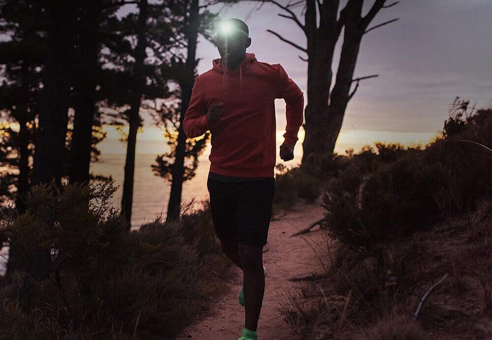 Someone running with the Vekkia CREE LED Headlamp