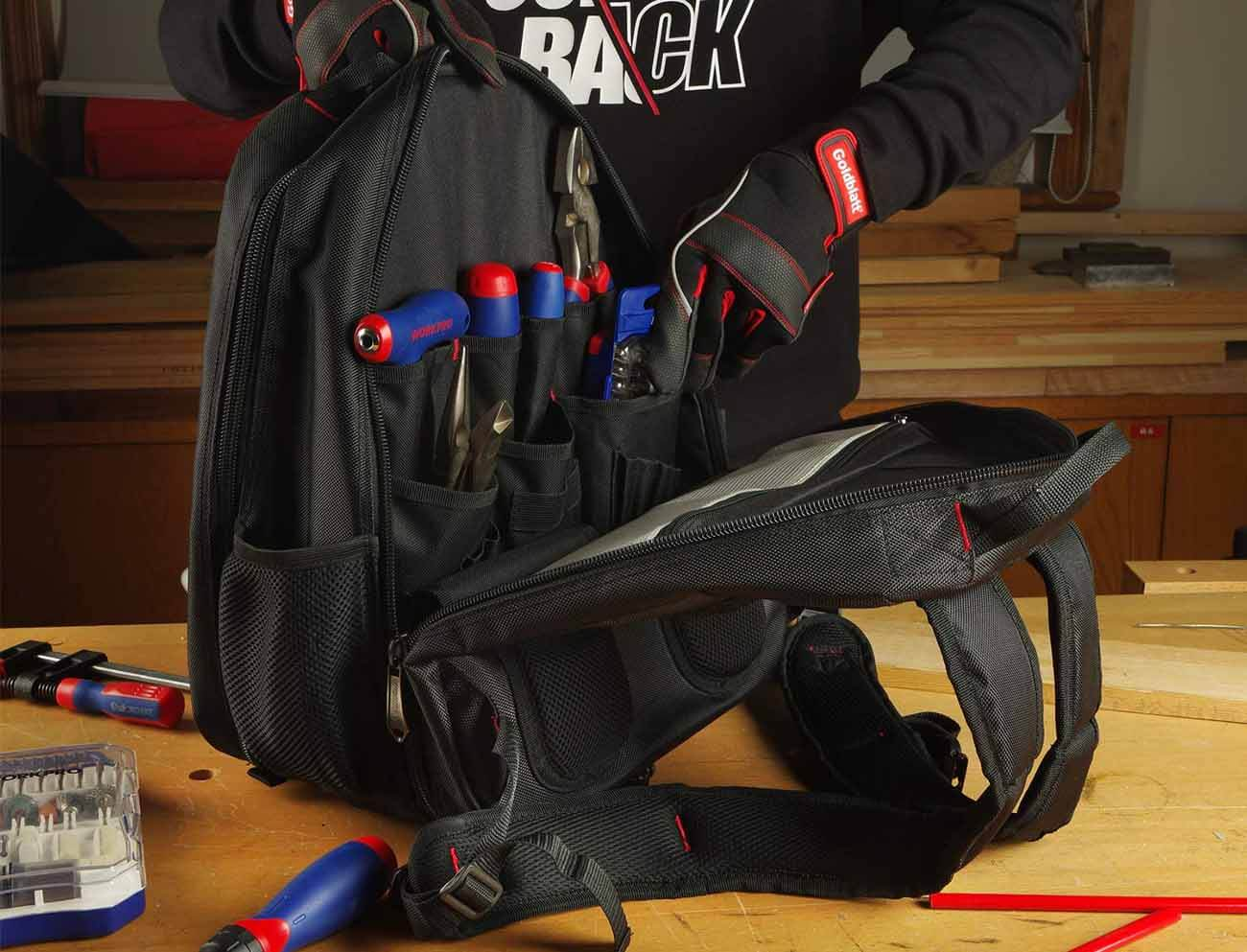 Tool Backpack on a work bench