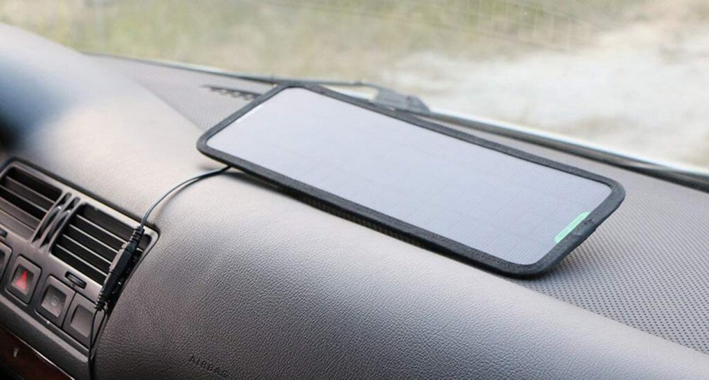 ALLPOWERS 18-Volt 5-Watt Solar Charger in a car