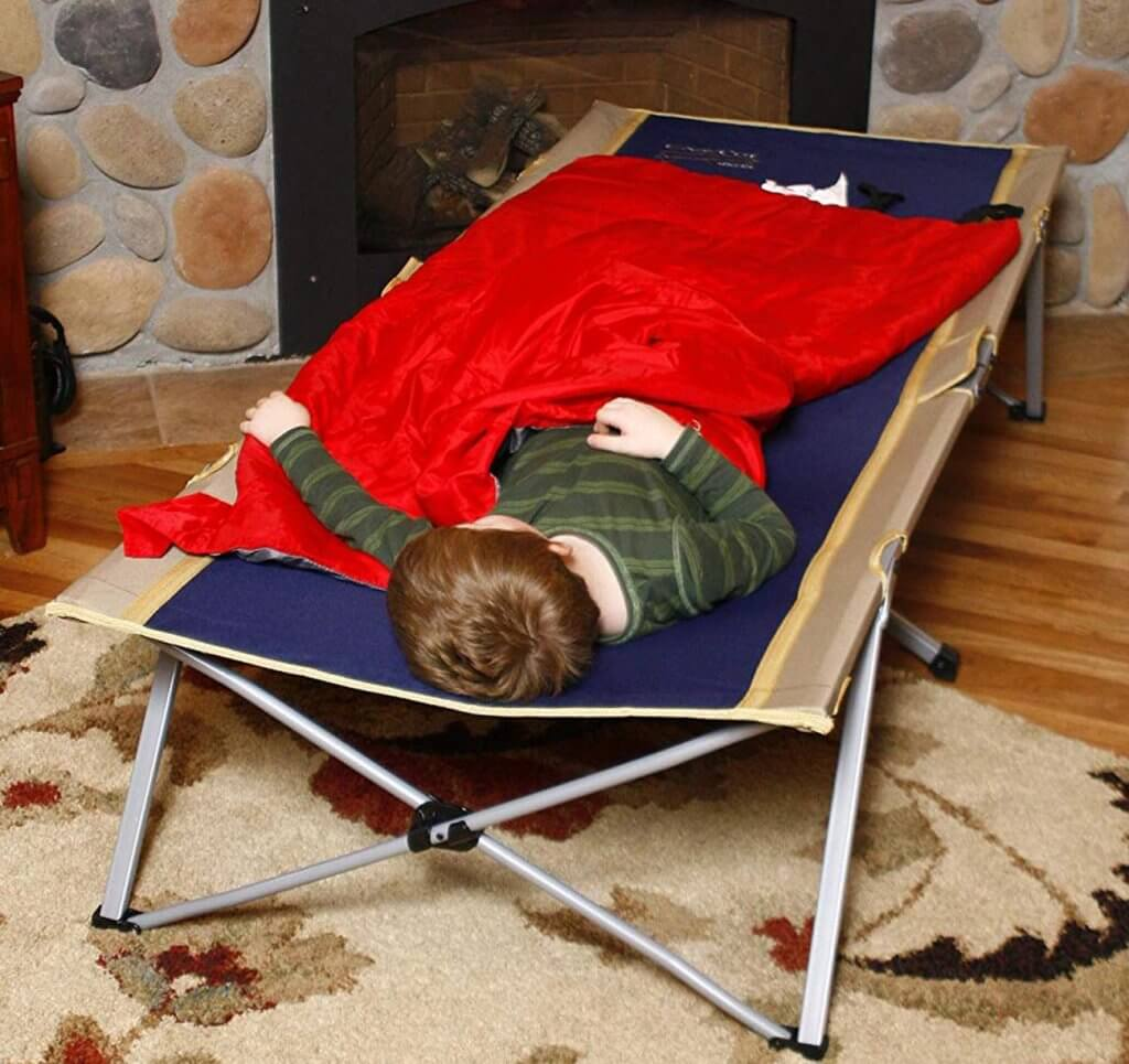 Kid sleeping on the BYER OF MAINE Easy Cot
