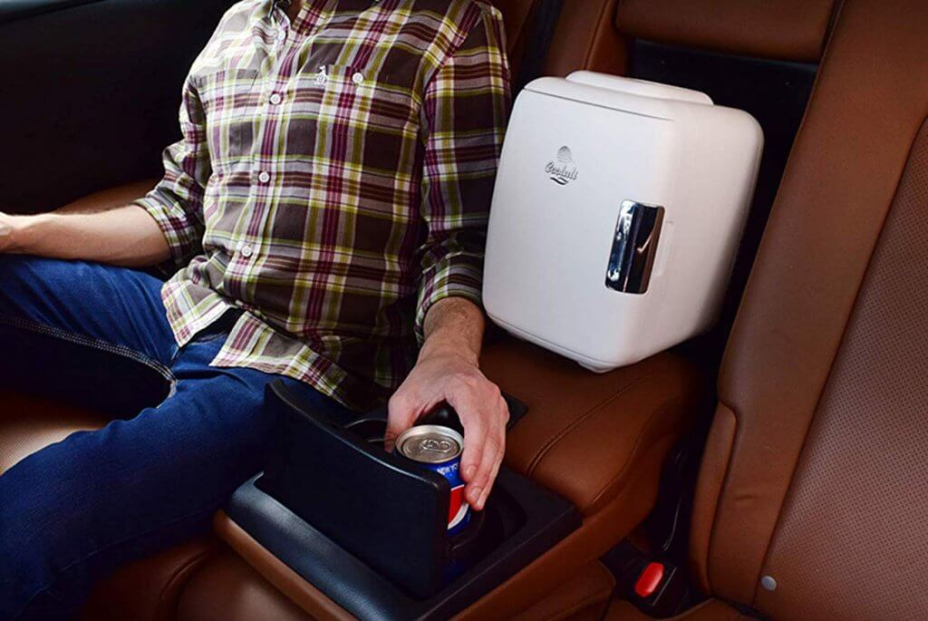 Cooluli Mini Fridge Electric Cooler and Warmer in a car