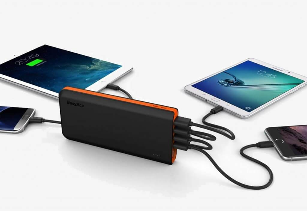 EasyAcc 20,000 mAh Portable Charger charging 4 devices at once