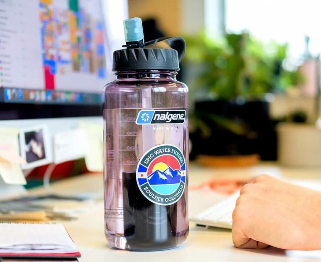 Epic Nalgene OG Water Filtration Bottle in the office