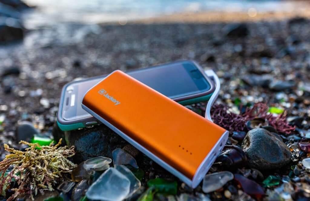 Jackery Bolt 6,000 mAh Portable Power Bank on a camping trip