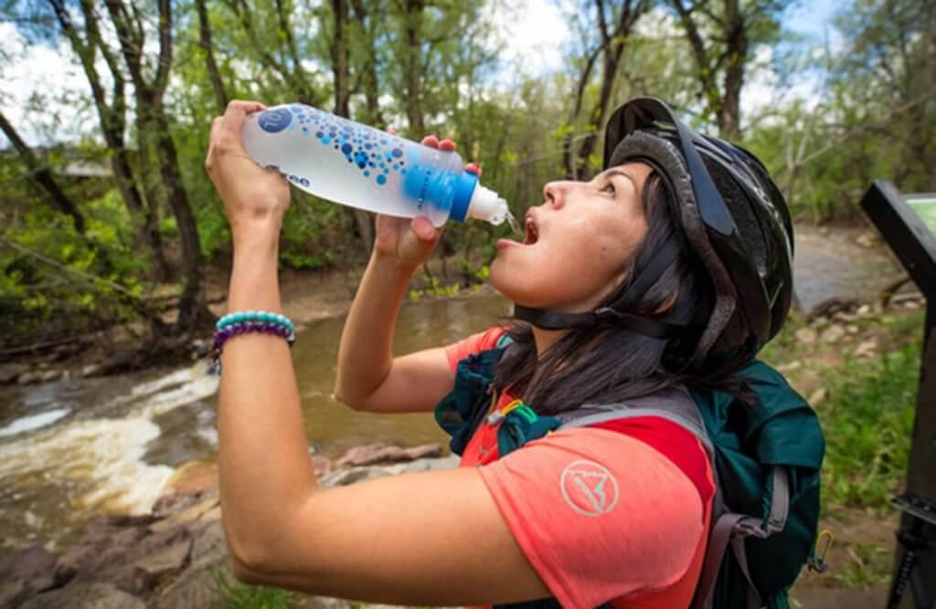 Katadyn BeFree 1.0 Liter Water Filter Bottle on a bike trip