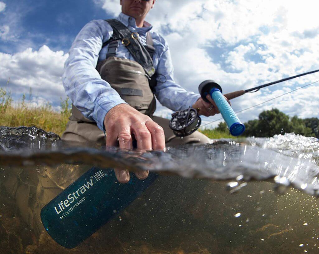 LifeStraw Go Water Filter Bottle on a fishing trip