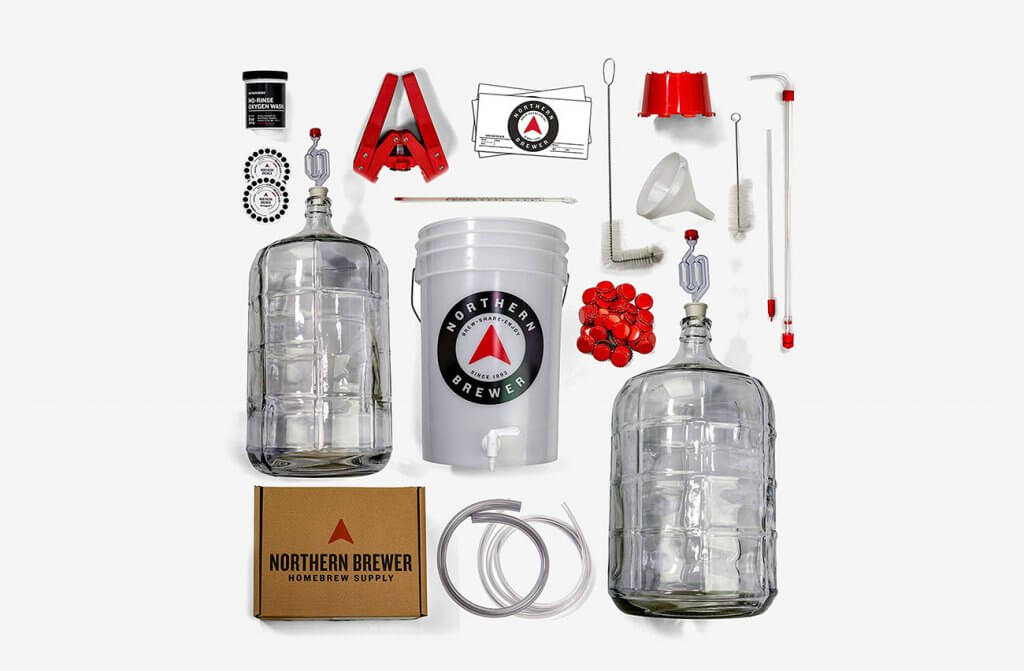 Parts of the Northern Brewer Deluxe Homebrew Starter Kit