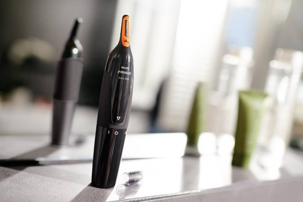 Philips Norelco Nose Trimmer 3100 in the bathroom