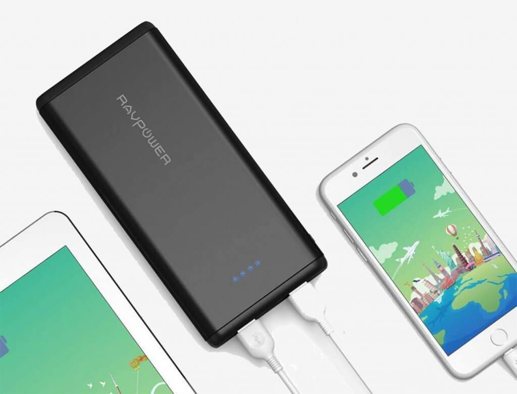 RAVPower Portable Power Bank 20,000 mAh and smartphones