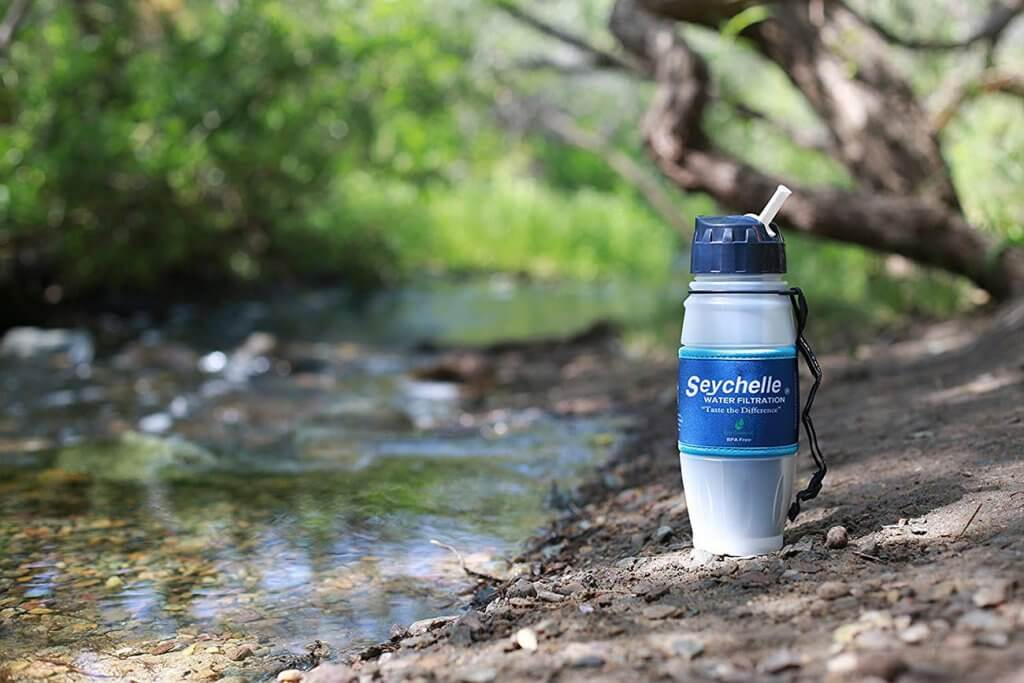 Seychelle Extreme Water Filter Bottle on a river