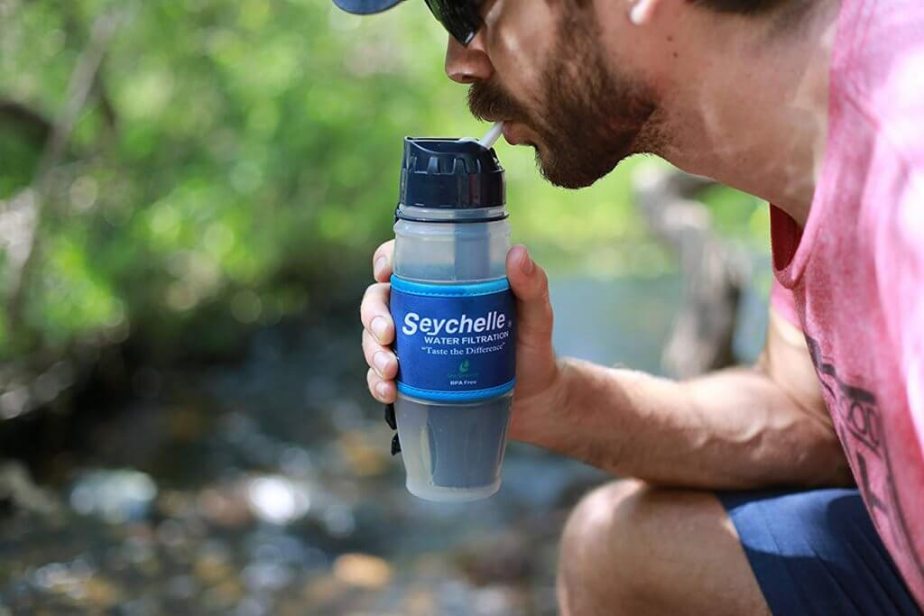 Drinking out of the Seychelle Extreme Water Filter Bottle