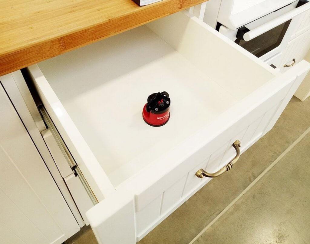 Sunrise Pro Supreme Sharpener in drawer