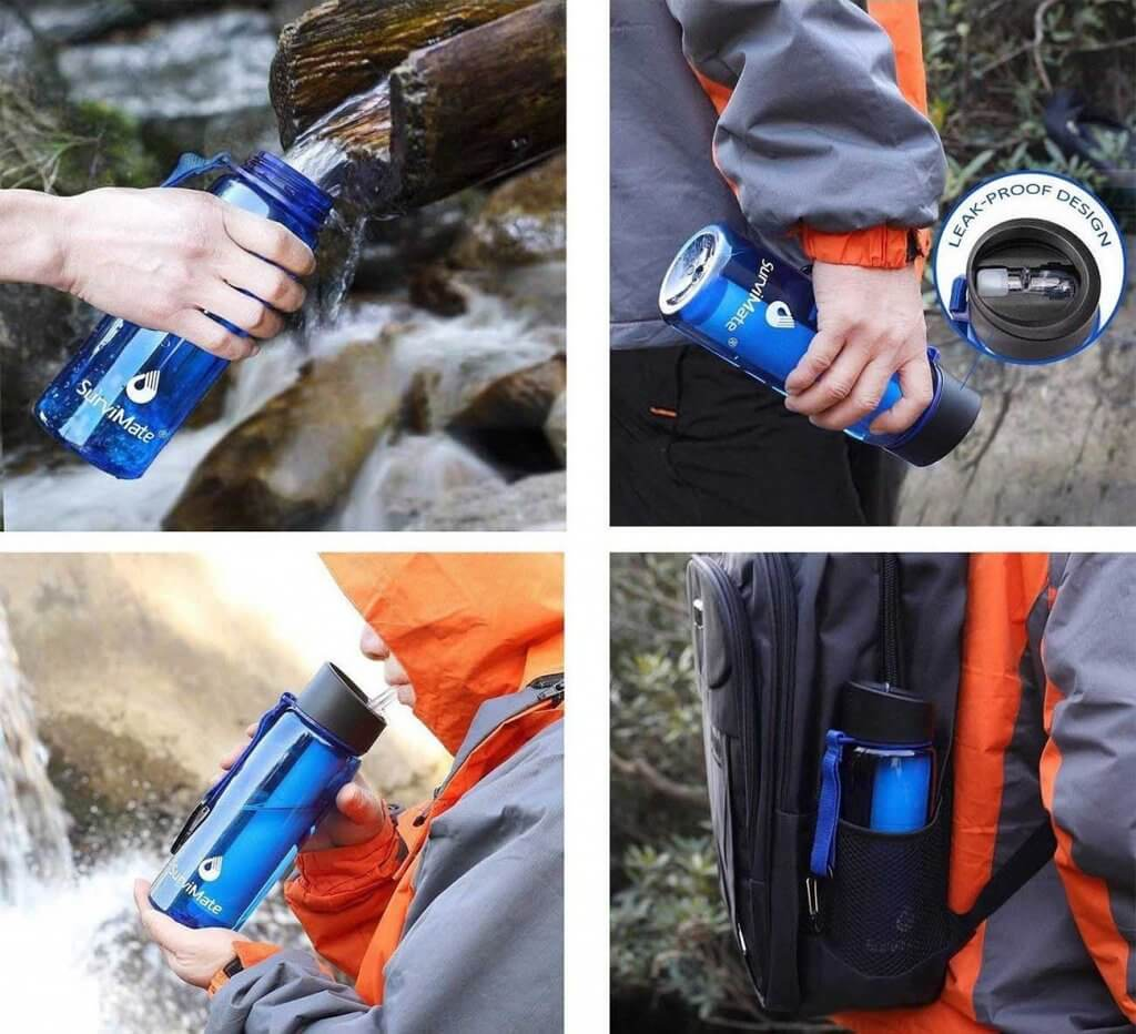 SurviMate Filtered Water Bottle for backpacking