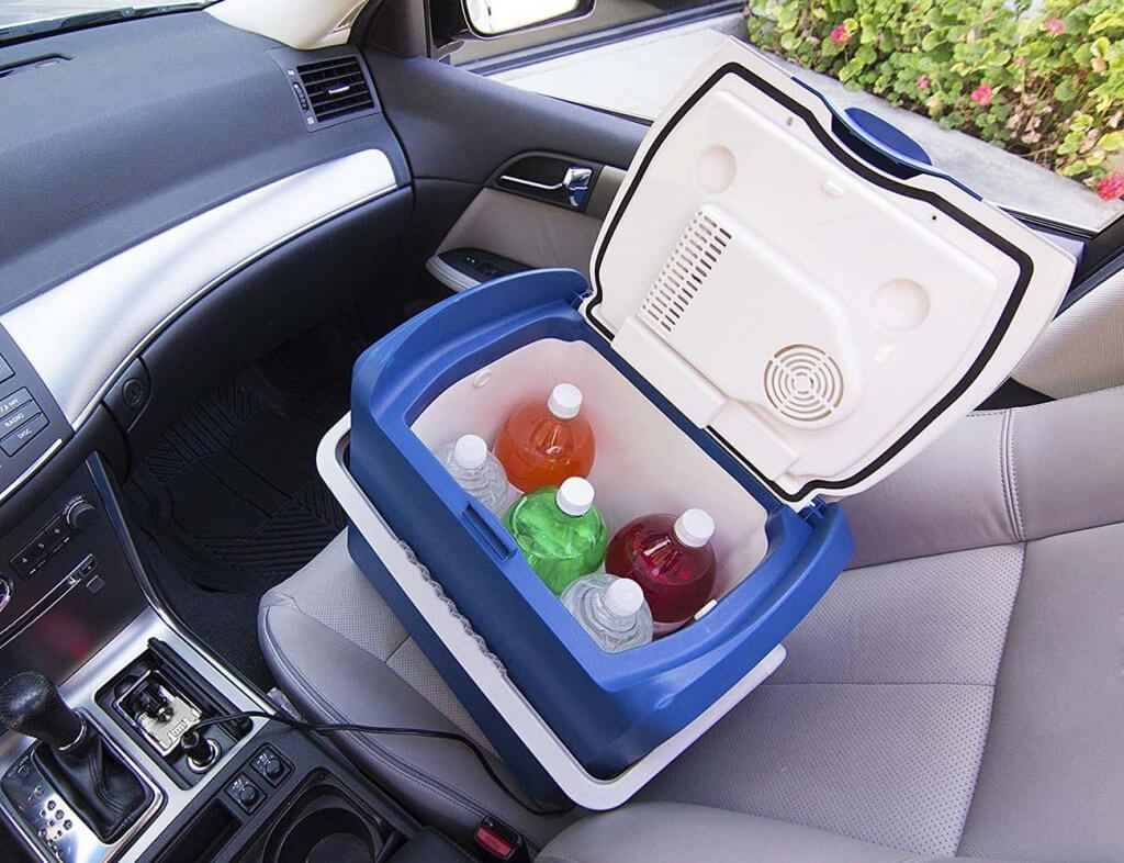Wagan EL6224 Electric Car Cooler and Warmer on a car seat