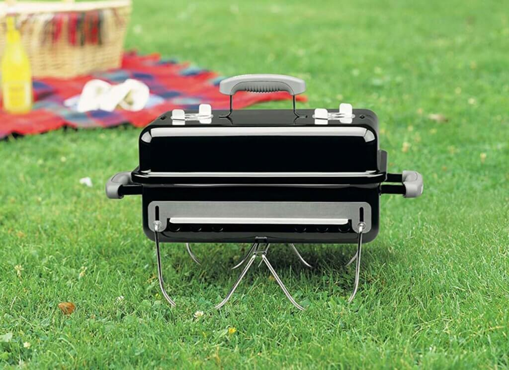Weber 121020 Go-Anywhere Charcoal Grill on a camping trip