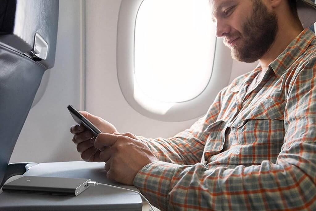 Xiaomi Mi Slim Power Bank Pro on an airplane