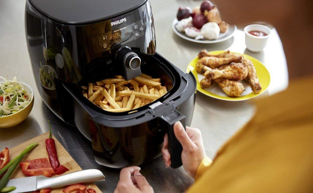 Premium air fryer in use