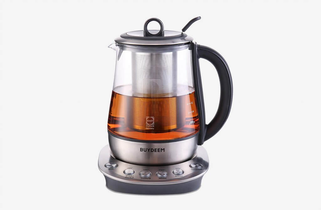 Buydeem K2423 Hot Tea Maker 1.2Liter Glass Stainless Steel Electric Kettle